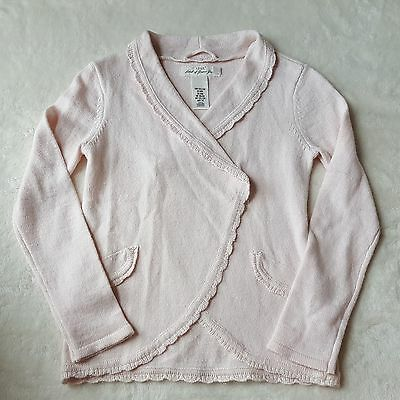 H&M LOGG Knit Cardigan Sweater Girls Sz 6-8Y Collared 1 Button Long Sleeve Pink