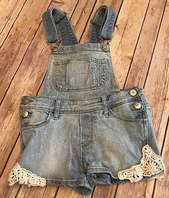 H&M Denim Girls Jeans Shorts Overall Shortall Lace Detail Size 5 6