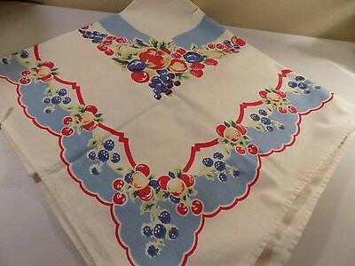 """Vintage Tablecloth and 4 napkins, Fruit themed, red, creamy white, blue, 35""""x40"""""""