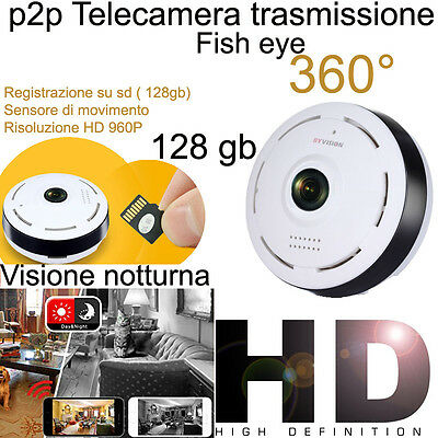 TELECAMERA IP CAMERA HD 720P WIRELESS LED IR LAN 360° fisheye WIFI RETE INTERNET