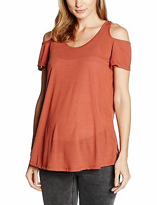 (TG. 38) New Look Maternity Poly Linen Cold Shoulder, Camicia Donna, Orange