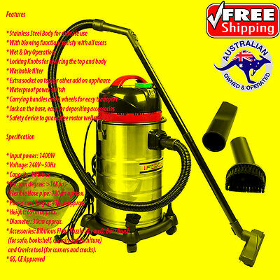 Industrial Commercial Bagless Wet And Dry Vacuum Cleaner 1400W 30L