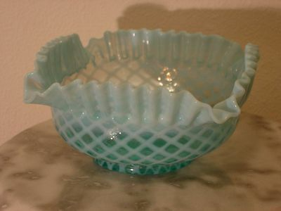 Northwood Blue Opalescent Lattice Brides Bowl