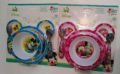 Disney Mickey or Minnie Mouse 4 pc Feeding Mealtime Toddler Dish Set Plate Bowl