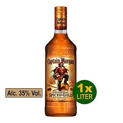 CAPTAIN MORGAN Original Spiced Gold Rum 1,0 Liter Alc. 35% Vol.- Spirituose Rum