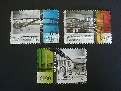 2016 - Bridges - Used Set of 3 x $1 stamps - S/A