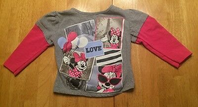 Disney Minnie Mouse Toddler Girl Shirt 3/4 sleeves Size 2T Pink Gray