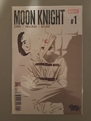 Marvel - Moon Knight #1 (1st Printing) Signed/Sketch Small Wood - NM