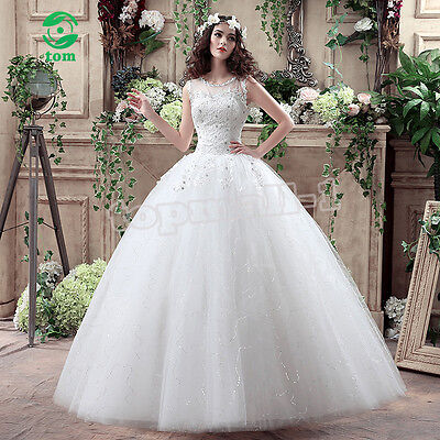 White Ivory Straps Wedding Dress Bridal Veil Prom Bridal Gown Custom Size Lace