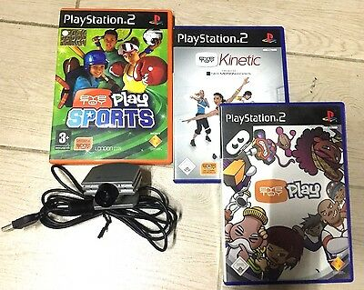 Ps2 PlayStation 2 TELECAMERA VIDEOCAMERA ORIGINALE SONY EYE CAM TOY + 3 GIOCHI