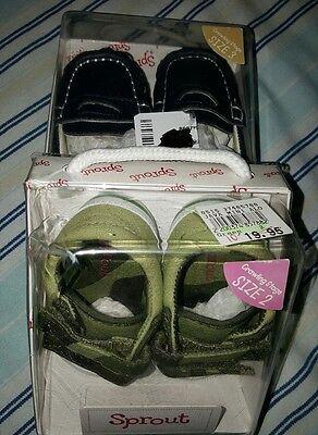** 2 PAIR  SPROUT BABY BOYS shoes size 2 & 3  - new **