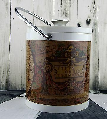 Retro Japan metal and plastic ice bucket, world map.