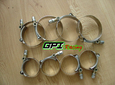 "8 x 2"" inch 51mm Turbo Pipe Hose Coupler T-bolt Clamps Stainless Steel 51-57mm"