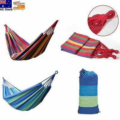 Portable Cotton Rope Outdoor Swing Double Hammock Camping Hanging Canvas Bed Hot