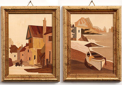 Vintage Italian MARQUETRY Inlaid Wood Crafted PICTURES by A. SALZANO Fruitwoods