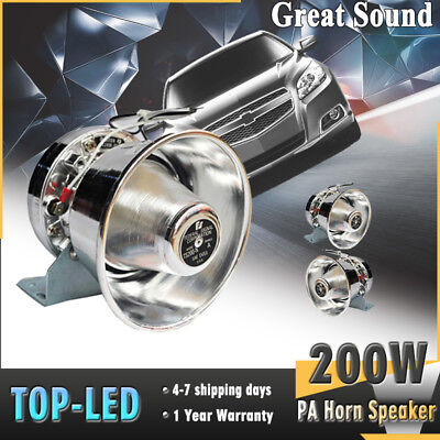 200W Loud Speaker Car Warning PA Horn Siren System Kit Police Fire Truck 12V