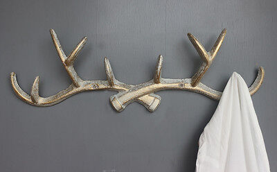 Vintage Cast Iron Deer Antlers Coat Rack Bath Wall Hook Hanger Shabby Chic 14""