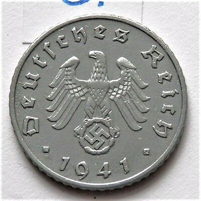 1941 Ww2 Third Reich Era Original German Coin 5 Reichspfennig *a* Good Grade