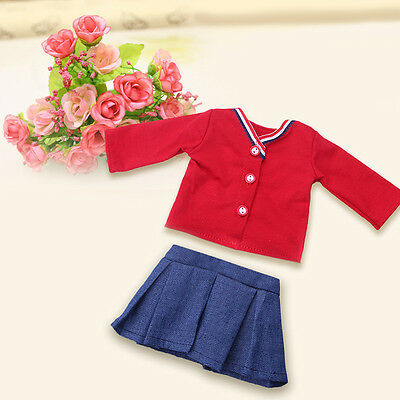1 set Doll Clothes Handmade Red Casual coat+ Skirt  For18 inch Doll toy Gift Hot