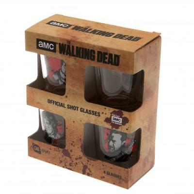 The Walking Dead 4pk Shot Glass Set CH Zombies Display Box Official Product