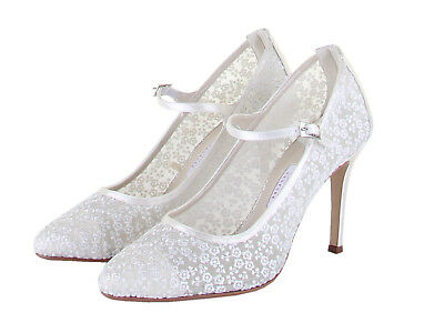 Rainbow Club Adora Ivory Sheer Lace Women Wedding Court Shoes UK Size 3-8 RRP99