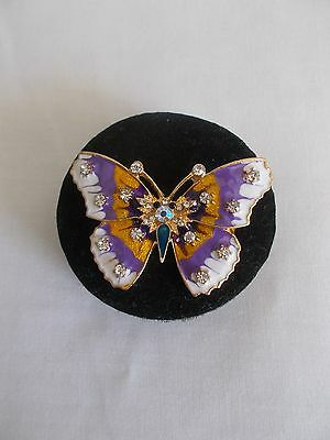 Yellow Gold Plated Crystal Rhinestone Colourful Enamel Butterfly Pin Brooch