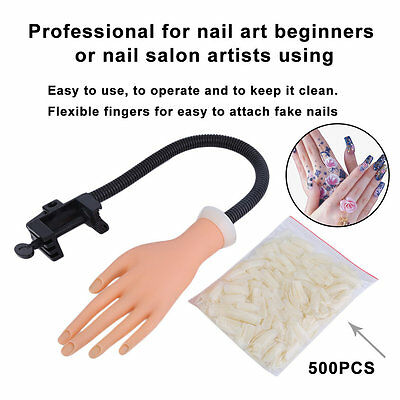 Adjustable Practice Hand Model Nail Art Trainer Training Tool+500 Gel False Tips