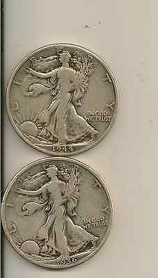 90% Silver $1 face 2 Walking Liberty Halves (sold as a pair you get 2 coins