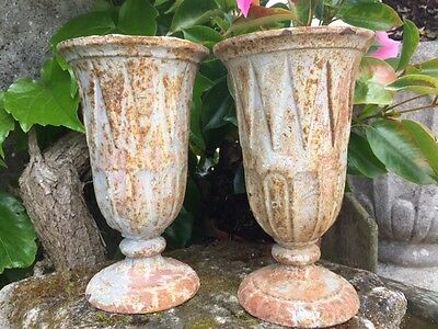 "Pair Antique French Cast Iron Art Deco vases urns 8"" high"