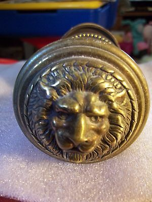 Vintage Brass Ornate Door Knob with Backplates Lions Head 2 1/4 in