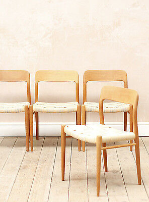 Vintage Mid Century Oak Danish Niels Moller Model 75 Dining Chairs x4