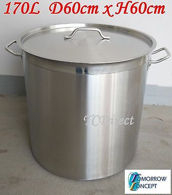 170L Commercial Stainless Steel Stock Pot Saucepan with Lid (D600xH600)