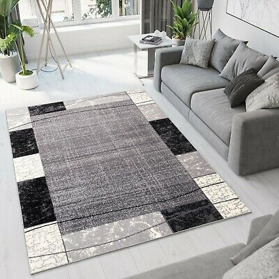 New Rug Modern Design Small Extra Large Soft Pile Frame Pattern Grey