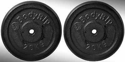"Cast Iron Weight Plates 2 x 20kg fit 1"" Standard Bars"