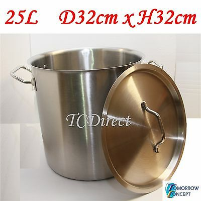 25L Commercial Stainless Steel Stock Pot Saucepan with Lid (D320xH320)