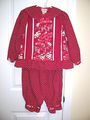 """""""april Cornell"""" Girls Sz 3-4 Red Top And Pants Set - Must See! S"""