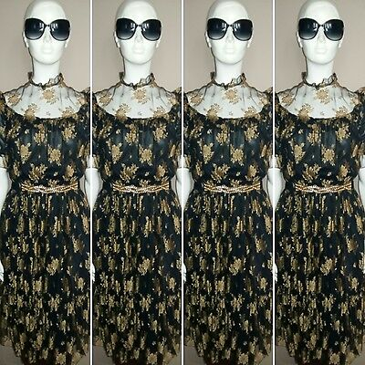 Vintage 1970's Black and Gold Floral Lace/Mesh Prairie Style Dress. Size 10/12.