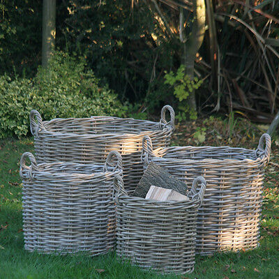 Log Toy Storage Basket Grey Rattan Round