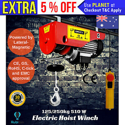 GIANTZ 125/250KG 510W 15m Rope Electric Hoist Winch Pro Lift Power Tool 240V