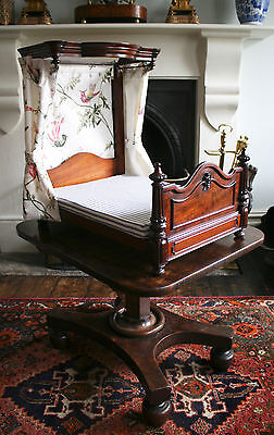 Extremely Rare Antique c1850 Victorian Miniature Half Tester Bed, Trade Example