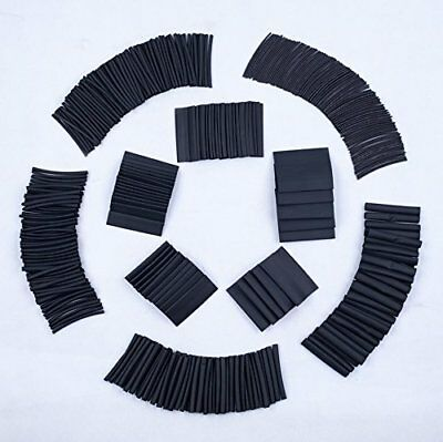SummitLink 415 Pcs Black Assorted Heat Shrink Tube 10Sizes Tubing Wrap Sleeve