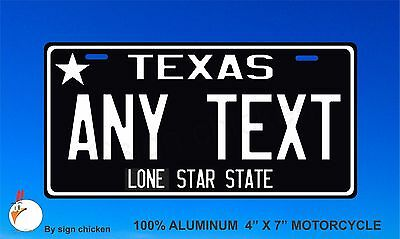 Texas License Plate Personalized Custom Auto, motorcycle, Bicycle, choose size