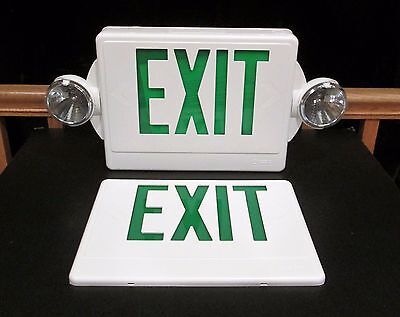 Lithonia Lighting 2-Light LED White with Green Stencil Exit Sign  Quantum LHQM
