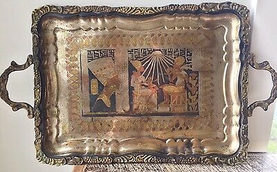 Antique Persian Qajar Qalamzani Fertility Etched Brass Large Serving Tray