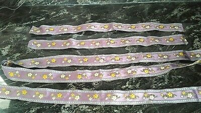 """Antique Embroidered French Lavender Lilac Flower Ribbon Trim ( almost 1.5"""" w )"""
