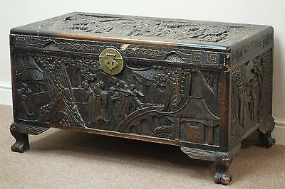 An Early 20th century Eastern heavily carved blanket box