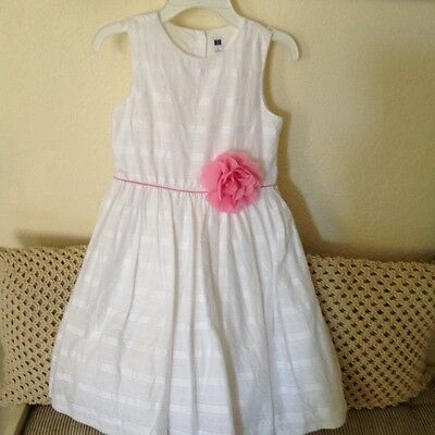 JANIE AND JACK girls white with pink flower dress sleeveless size 8