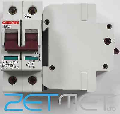 Contactum 9630 63 Amp Double Pole 400 Volt Main Switch Disconnector Bsen 60947-3