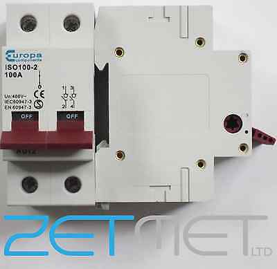 Europa Aut 2 ISO100-2 100 Amp 400V Double Pole Mains Switch Disconnector
