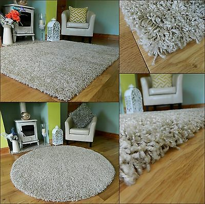 Medium X Large Beige Champagne Thick Heavy Soft Quality Shaggy Pile Rug Mat